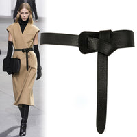 New Design Belts for women HOT black knotted waistbands for dress Top Quality Strap party belt brown soft leather PU faux Bow