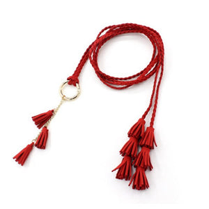 Waist Chain Belt Women's 3 Pieces Tassels Knotted Ring Rope Woven Belt Decorative Dress Waist Slim Women's Waist Belts AN1038