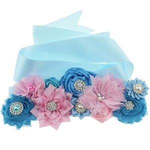 Maternity Belts Pink and Blue Chiffon Lace Flower Sash Belts Baby Shower Gifts Wedding Bridal Dress Accessories