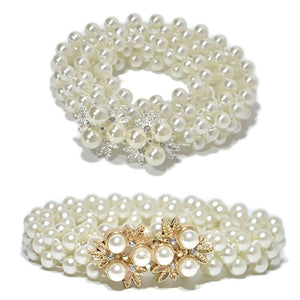 Womens Three Rows Thin Faux Pearls Waistband Bridal Wedding Sash With Metal Alloy Flower Rhinestone Decor Bukle Waist Belt Chain