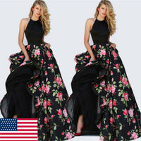 2019 Women Lady Satin Floral Long Black Print Backless Dress Club Wear Evening