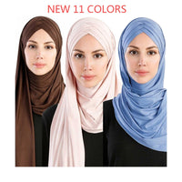 2019 women plain bubble cotton jersey scarf Head hijab wrap solid instant shawls foulard femme muslim hijabs store ready to wear