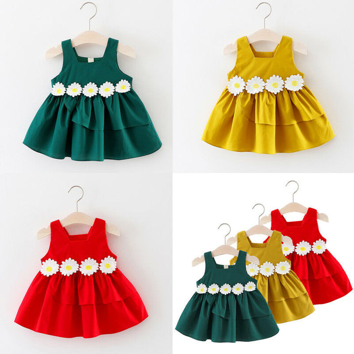 Baby Girl Small Daisy Sleeveless Princess Bridesmaid  Party Pageant  Summer Formal Dress