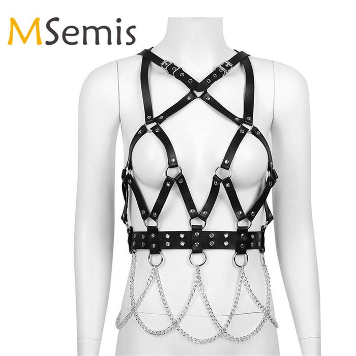 Women Cage Harness Punk Faux Leather Harness Women Adjustable Body Chest Half Harness Belt with Chain Tassel Cosplay Clubwear