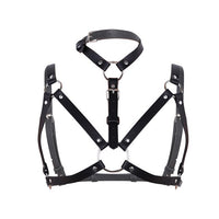 Womens PU Leather Body Chest Harness Cage Adjustable Bralette Strap Waist Harness Belt Steampunk Goth Belt with Buckles O-Rings