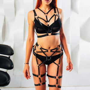 Fullyoung  Leather Garters For Women Bondage Intimo Pastel Goth Leather Harness Woman's Lingerie Thigh Adjustable  Straps