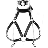 Leather Body Harness Lingerie Full Cage Bondage Set Garter Punk Goth Strap Plus Size Fetish Festival Women Sexy Exotic Rave Bra