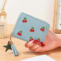 AOEO Cherry Embroidery Tassel Star Wallet For Women Purse Girl Clutch