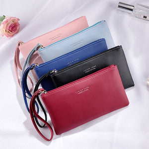 Women PU Leather Purse Wristlet Zipper Wallet Handbag Envelope Phone Key Case Clutches for Women Coin Purses Fashion Bag