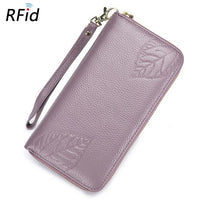 WESTCREEK Brand Genuine Leather RFID Large Capacity Women's Wristlet Leaves Wallet Zipper Women Purse Clutch Wallet