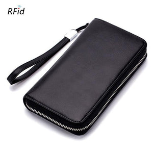 WESTCREEK Brand RFID Large Capacity Women Long Phone Wallets Anti Theft Men Leather Minimalist Wristlet Wallet Coin Pocket Purse