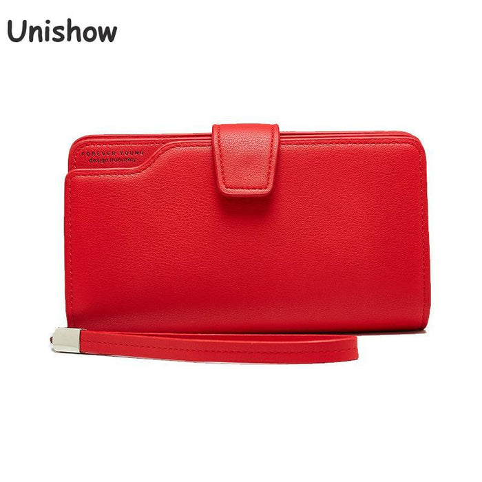 Unishow 2019 Large Capacity Women Wallet Clutch Wristlet Women Phone Purse Brand Designer Female Pu Leather Wallet Card Holders