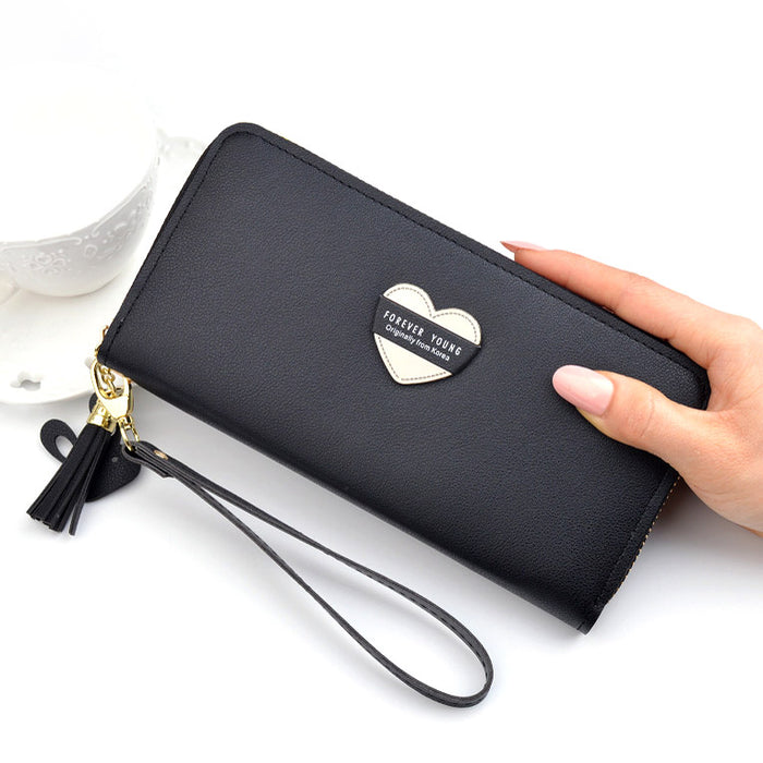 Women Wallets Wristlet Handbags Cards Holder Love Heart Lady Purses Moneybags Tassels Zipper Long Clutch Coin Purse Wallet Bags
