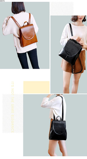 EBOYU Genuine Leather Women Leather Backpack Girls Ladies Shoulder Bag
