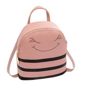 Girl Smiley Satchels Character Zipper Headphone Hole Backpack Slung Shoulder Bags Mobile Phone Purse Mochilas Mujer 2019