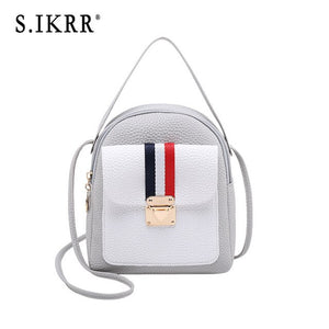 S.IKRR  New Shoulder Bag Women Mini Backpack PU Leather Soft Touch Casual Travel Bags Cute Panelled Ribbon Lock Girls Purse