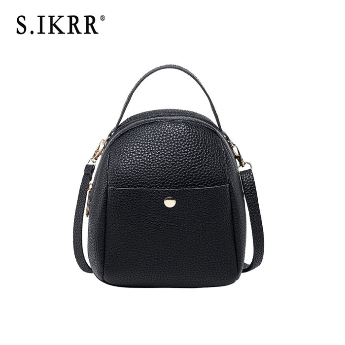 S.IKRR Luxury Fashion Mini Backpack Women New Disgner Female Shoulder Crossbody Bag School Bags For Teenage Girls Leather Purse
