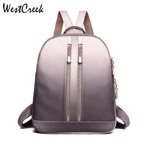 WESTCREEK Brand High Quality Gradual Change PU Leather Backpacks Women Female School Bag Travel Laptop Daypack Backpack Purse