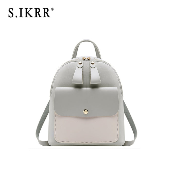 S.IKRR New Women Mini Backpack Casual Leather Mult-function Travel Shoulder Bags For Teenage Girls Cute Simple Panelled Purse
