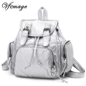Vfemage New Small Backpack Women Leather Bagpack Female Backpack Purse Casual Mini Schoolbag for Teenager Girls 2019 Sac A Dos