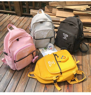 women Laptop Backpack With Smiley Small Purse Waterproof Nylon Travel Backpacks Women Shoulder Bag For Teenage Girls School Bag