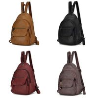 Small PU Leather Convertible Backpack Sling Purse Shoulder Bag for Women
