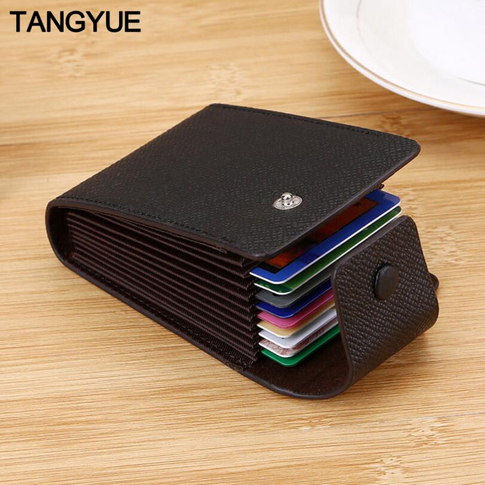 TANGYUE Men Credit Card Holder Leather Purse for Cards Case Wallet for Credit ID Bank Card Holder Women Cardholder and Coins