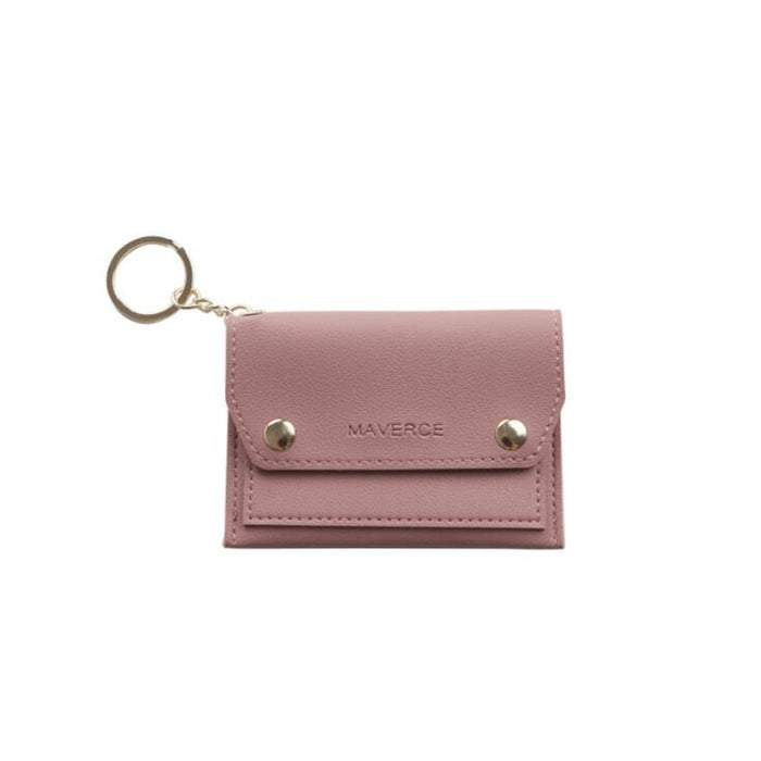 Women Small Wallet Credit Card Holder Simple Mini Card Package Korean Fashion Purse Organizer Premium PU Leather Keychain Clip