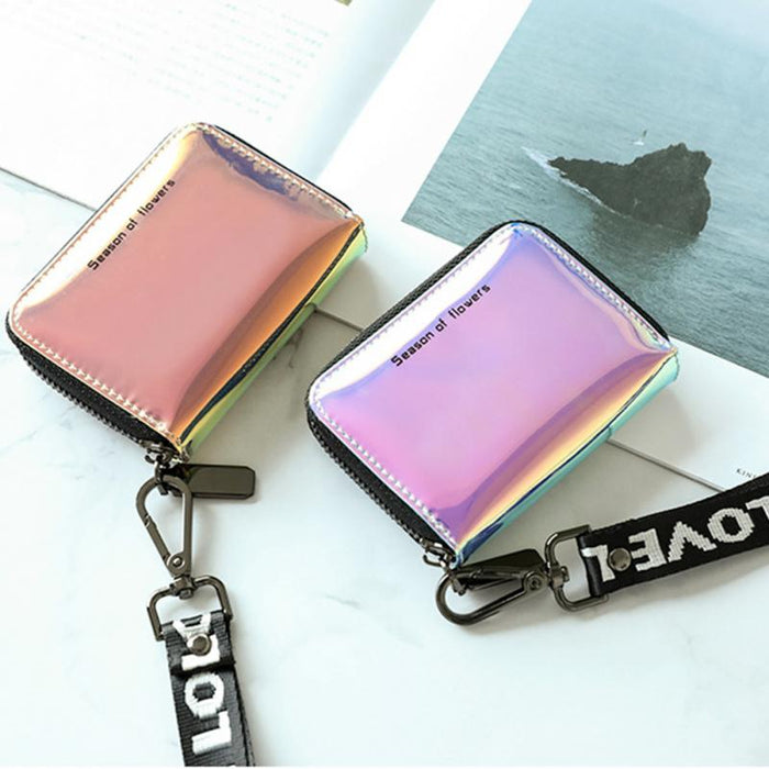New Fashion Women Short Wallet with Lanyard Clutch Laser Card Holder Ladies Zipper Wallets Designer Casual Ladies Purse #1107