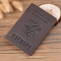 New Genuine Leather Passport Cover for Russia Solid ID&Credit Card Holder Business Passport Case Unisex Travel Wallet Case