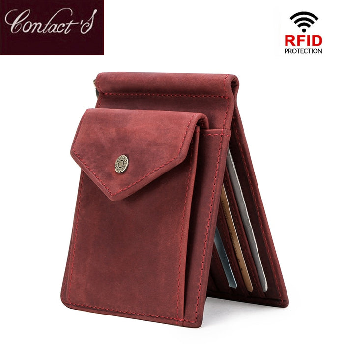 Contact's RFID Women Wallets Short Money Clip Wallet Oil Nubuck Cow Leather Female Clamp for Money Case Vintage Card Organizer