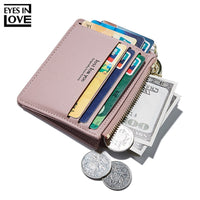 New Brand Super Thin Small Credit Card Wallet Women's Leather Key