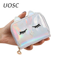 UOSC Fashion Pu Leather Laser Hologram Cute Wallets For Women Girls