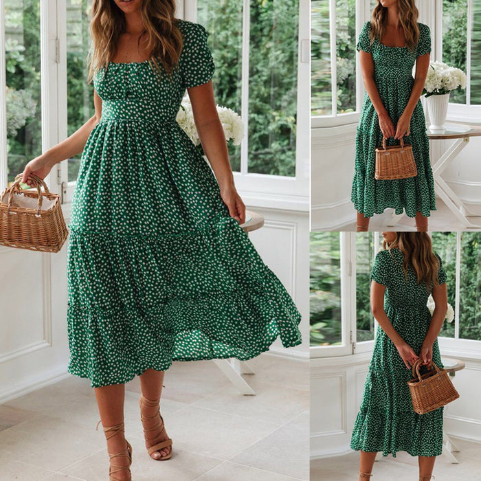dress women Fashion Sexy  Daisy Print Puff Sleeve Square Neck Dress