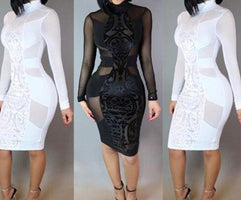 Sexy Women Perspective Patchwork Short Dress  Bandage Bodycon Casual Long Sleeve Cocktail Mini Dress