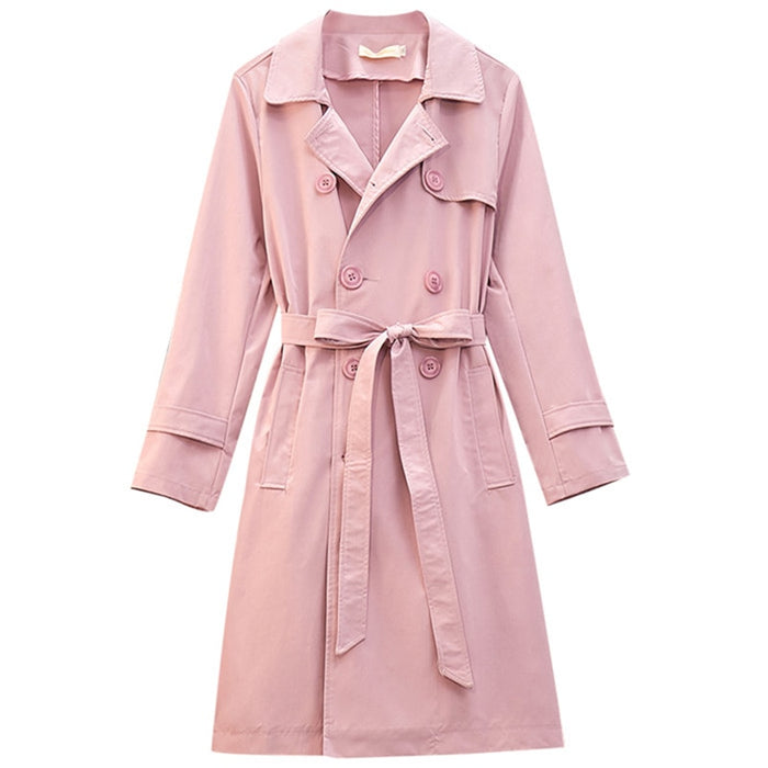 Fashion Trench Coat Women Plus Size 5XL Casual Tops Double Breasted Loose Long Trench Pink Blue Outerwear Belt slim Female A2859