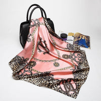Women Soft Pink Leopard Silk Satin Square Scarves Office Gorgeous Head Shawl