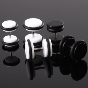 Acrylic Fake Ear Plug Black White Barbell False Tunnel Stretcher Earrings Stud