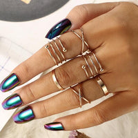 6 PCS Ring Set Multi layer circle Unique Ring Set Punk  Knuckle Rings for women