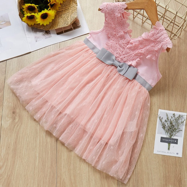 Baby Dress 2019 Summer Bow Design Belt Pearl Girl Dress Baby Sleeveles Jyards