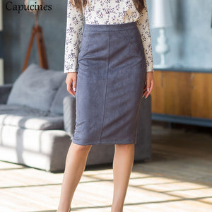Office Lady Fashion Fake Pocket Suede Bodycon Skirt 2019 Women Spring Autumn Elegant Split Knee Length Midi Wrap Pencil Skirts