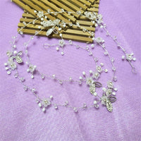 Luxury Gold and Silver Headbands Hair Jewelry Pearl Crystal Leaf Bride
