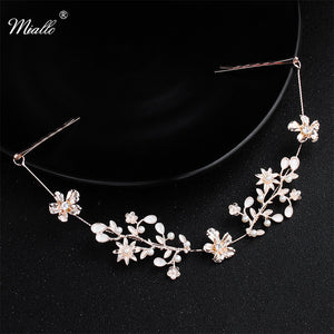 Classic Rose Gold Color Flower Crystal Headband Wedding Hair