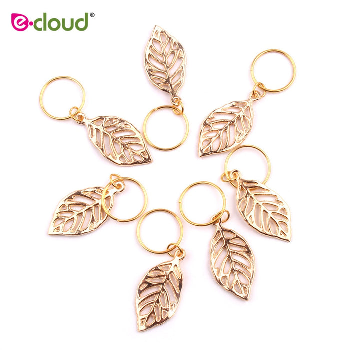 20pcs/bag golden leaves Hair Braid Rings Accessories Clips for Women and Girls