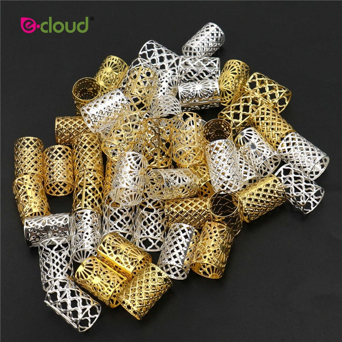 Beads Metal Dread Golden and Silver 23mm Hair Rings Locks Metal Cuffs Hair Decoration