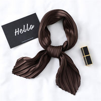 New Crinkle Square Silk Scarf Small Neck Bandana For Women Crumple Solid Head Scarf Decoration Skinny Handle Bag Ribbons Foulard