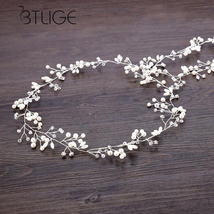 Long Wedding Hair Vine Crystal Pearl Headband Bridal Accessories