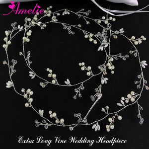 Amelie Wedding Hair Accessories Bridal Extra Long Hair Vine Headpieces