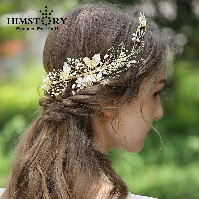Vintage Golden Leaf Round Wedding Headband Women Tiaras Crown Bridal