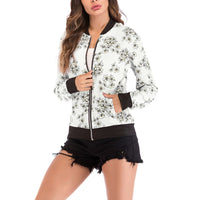 Print Bomber Jacket Women Flowers Zipper Up Retro Coat Spring Summer